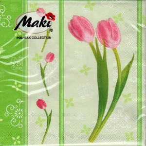 Luncheon Napkin Pink Tulip On Green For Mother's Day