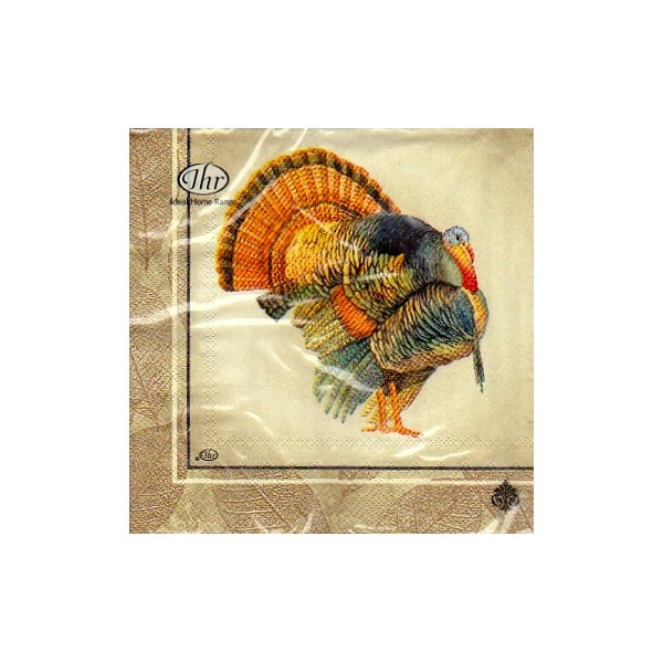 Luncheon paper napkin classic turkey cream napkins world for Turkey napkins