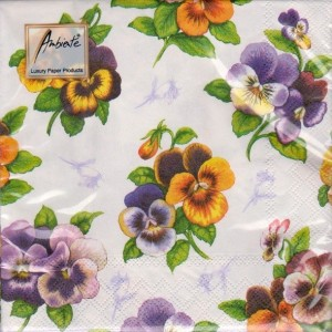Luncheon Napkin Pansy White