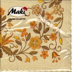 Luncheon Paper Napkin Beige Embroidery