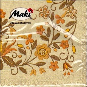 Luncheon Paper Napkin Beige Pattern Embroidery