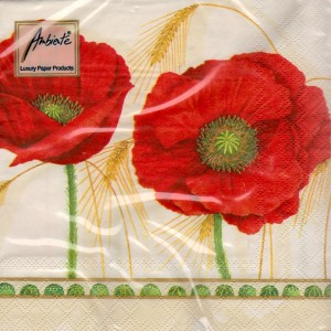 Luncheon Paper Napkin Corn Poppy Cream