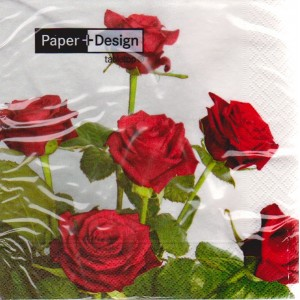 Luncheon Paper Napkin Bouquet Of Red Roses