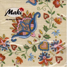Luncheon Paper Napkin Kashubian Pattern Embroidery
