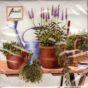 Luncheon Napkin Potting Herbs