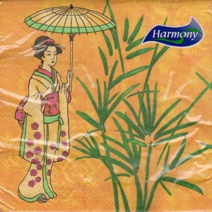 Luncheon Napkin Woman With Umbrella - Oriental